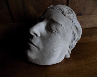 Rare French antique death mask / masque de mort in plaster circa 1800s.