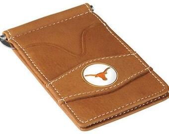 Texas Longhorns Tan Leather Wallet Card Holder