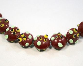 Dark Red Bumpy Lampwork  Glass Beads  8 Beads   (13 x 15 mm)