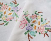 Vintage Linen Tablecloth. Stunning square vintage tablecloth with hand embroidered posies of beautiful spring flowers. Great for a tea party