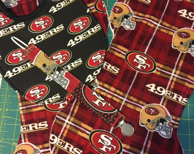 Baby Bib Gift Set San Francisco 49er's Inspired Fabrics: Baby Bib, Burp Cloths and Pacifier Clip