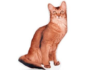 Somali Cat, Cat Cushion, Cat Pillow, Cat Lovers Gift, Cat Decor, I Love Cats, Cat Plushie, Plush Cat, Cat Gift, Pet Memorial, Funny Cat Gift