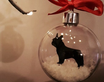 French Bulldog Silhouette in the Snow Acrylic Bauble can be Personalised