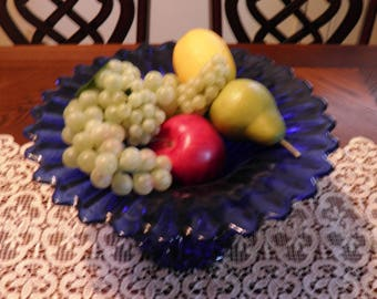 Cobalt Blue Absolutely Gorgeous Scalloped Edge Flower Like Flared Edge Pedestal Centerpiece Bowl