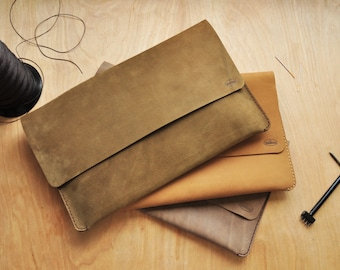 Personalised Simple Earth Green Leather Clutch / Leather Handbag / Carry All / Purse