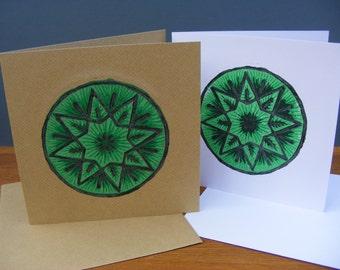 Green Circle Star blank greeting card