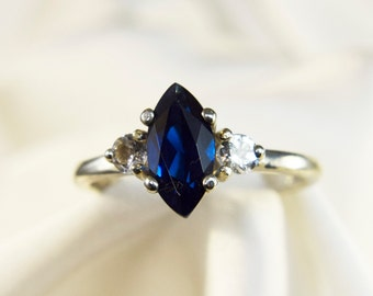 Sterling Silver Blue Spinel Marquise Ring