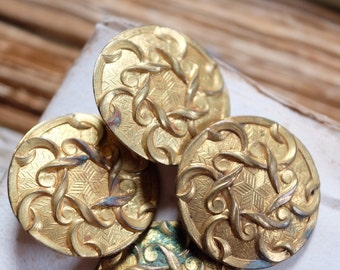Set of Four French antique Art Deco enamel blank buttons, brass round, costume, jewellery supplies, sewing project