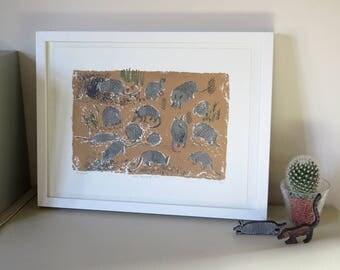 Armadillos screen print - illustrated screenprint - animal art print - hand printed silk screen art - armadillo illustration - unframed