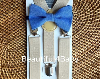 Blue Baby Bow Tie, Blue Toddler Bow Tie, Tan Suspenders, Blue Bowtie & Tan Suspender Set- 6 Months to 5 Years Old