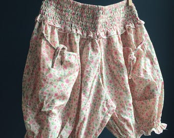 Ruffled BLOOMERS women's clothing, pretty pink floral vintage fabric, women's pajamas, womens bloomers 1920s pockets Victorian inspired