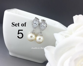 Set of 5 Swarovski Earrings Dangle Earrings Pearl Earrings Bridal Jewelry White Crystal Bridesmaids Gift Gift for Her Jewelry Gift idea