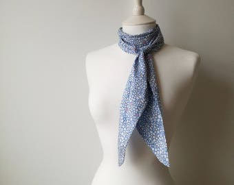 Liberty of London Kathy Blue Floral Skinny Scarf Tie Thin Belt Headscarf Long Summery Cotton 2623
