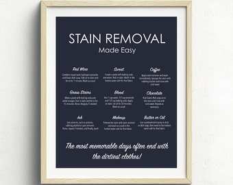 Stain Removal Guide, Laundry Room Art, Laundry Print, Stain Removal Chart, Navy Blue