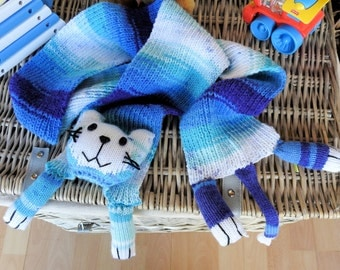 Handmade Child's Blue Cat Scarf - Free Shipping