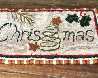 Primitive Christmas Hooked Rug