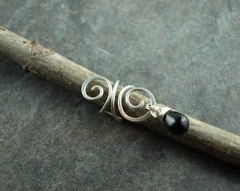 Earcuff, clamp, coil, wire work, black glass drop, Sterling