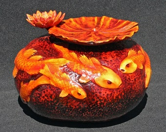 Gold Fish and Lilly Pad Hand Carved Courd