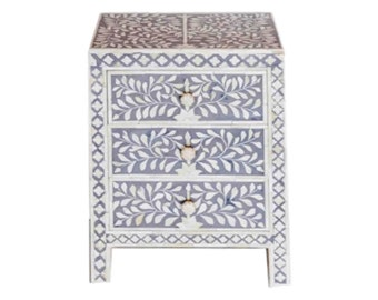 Bone Inlay Furniture -  Side Table Floral Pattern | Free Shipping