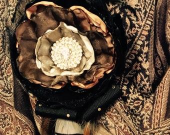 Black, Brown Rhinestone Brooch