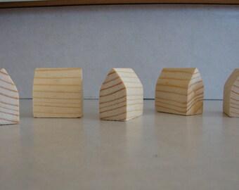 Miniature PineWood Houses -5 Miniature Wooden Houses Little Houses