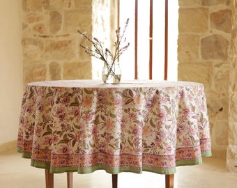 Round Tablecloth, Floral Tablecloth, Cotton Tablecloth, Indian Tablecloth,  Tablecloth, Tablecloths,