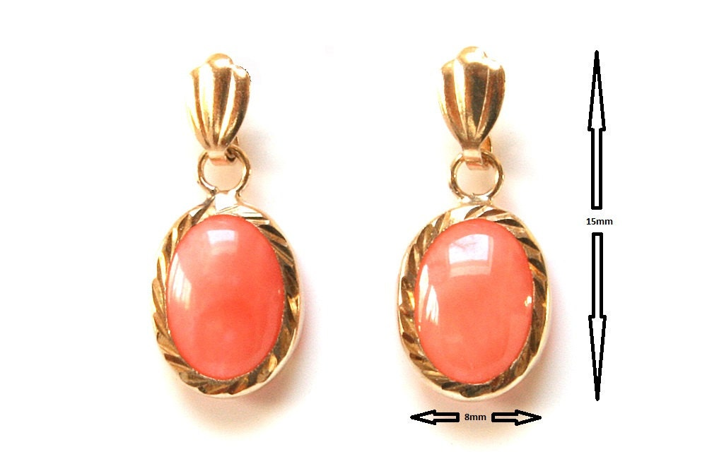 9ct Gold Coral Oval Drop Earrings NU9mKOFn1
