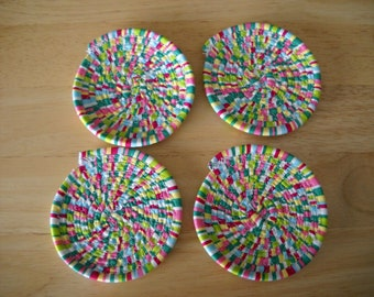 Set of four coiled fabric coasters//Coiled fabric coasters//Fabric coasters//Fabric coaster set//Bright colored fabric coasters//