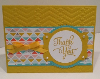 Thank You Greeting Card - Handmade Stampin Up Thank You - Hand Stamped Appreciation Card - Embellished Spring Thank You - Cute Thanks Card