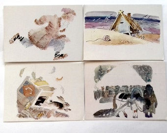 """Y. Korovin """"Illustrations of Russian folk tales"""". Set of 16 Vintage Postcards - Printed in Moscow, 1983"""