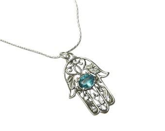 hamsa Blue Topaz necklace, December birthstone, Blue Topaz hamsa necklace, December necklace, birthstone necklace, Blue Topaz necklace,
