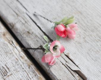 Bridal Hair Pins, pink rose hair pins, Wedding Hairpins, flower Bobby Pins, Hair Pins - Set of 2 , fairy dress up, flower hair pins, floral