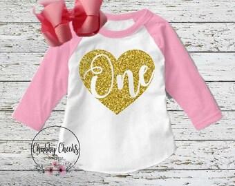 girls pink and gold glitter birthday raglan tee. glitter heart birthday shirt. first birthday raglan.