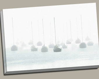 Sailboats in Fog Gallery Wrap Canvas Photo Print Fine Wall Art, Sail Boat Harbor Dock Moored Plymouth MA Cape Cod Water Foggy White Nautical
