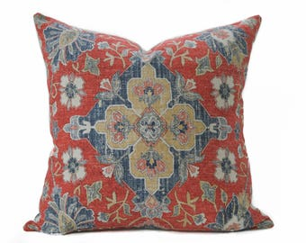 Persian linen pillow cover - Burnt orange and navy pillow - Boho pillow - Shabby chic pillow - Ethnic pillow - Rust pillow