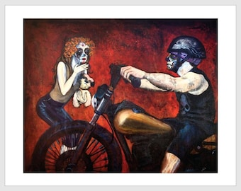 Kiss Off 11x14 Signed Day of the Dead [Dia De Los Muertos]  Print by NM artist Sean Wells// Bikers// Lovers