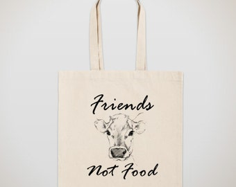 """Tote Bag """"Friends Not Food"""" Grocery Reusable Canvas Tote Bag IRON TRANSFERED ON"""
