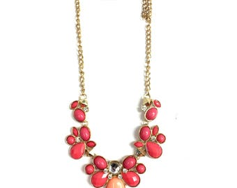 Pink Floral Stone Necklace