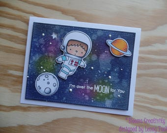 Space card- Love card- Handmade