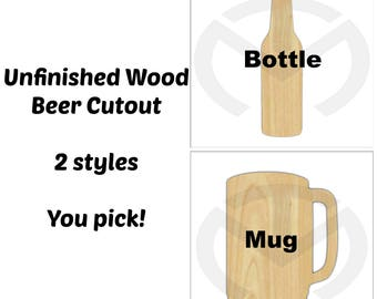 Unfinished Wood Beer Bottle or Mug Laser Cutout, Wreath Accent, Door Hanger, Ready to Paint & Personalize, Various Sizes