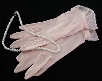 Sheer, Soft, Pastel Pink vintage womens gloves, wedding / bridal, formal gloves, quality dressy wrist gloves size 7-8, circa 1960s, 1970s