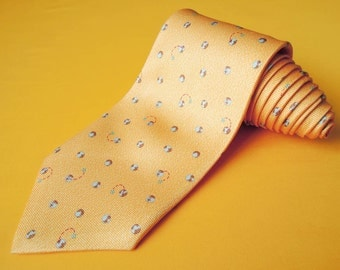 Bvlgari Tie Woven Silk Earth Ball Repeat Pattern Orange Vintage Designer Dress Davide Pizzigoni Necktie Made In Italy