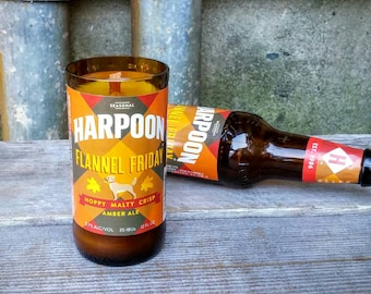 Cool Upcycled Scented Candle For Men, Recycled Glass Gift, Harpoon Flannel Friday Craft Beer Bottle.