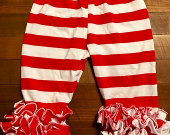 Girls Red/White Stripe Icing Capri Pants | Ready to Ship | Toddler size 100 (1-2 years)