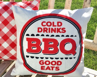 Cold drinks and BBQ-pillow cover