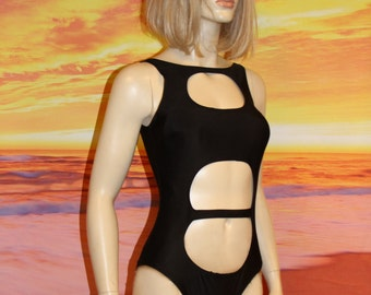 Black Cut Out Swimsuit One Piece Bodysuit Cage Monokini Size M