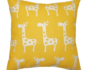 Yellow Giraffe Pillow, Giraffe Print Pillowcase, Corn Yellow Throw Pillow, Animal Print Pillow, Nursery Kids Room Decor, Stretch Yellow