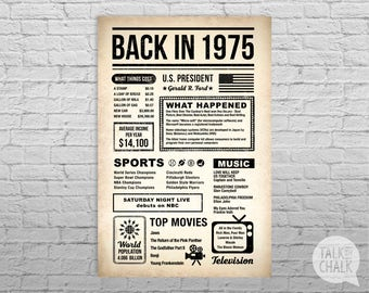 Back In 1975 Newspaper-Style DIGITAL Poster, 1975 Birthday PRINTABLE Sign, 1975 Birthday Gift, 1975 Sign, 1975 Poster, Instant Download
