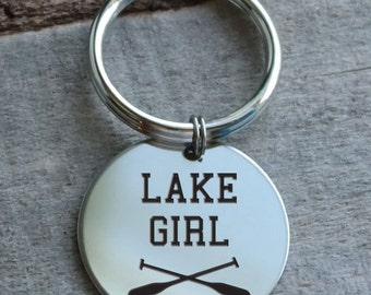 Lake Girl Personalized Key Chain - Engraved