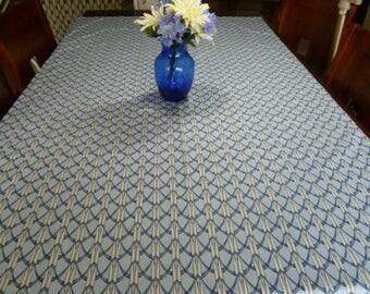 Geometric Tablecloth, Geometric Fabric, Blue Tablecloth, Kitchen Tablecloth,  Table Covers, Custom